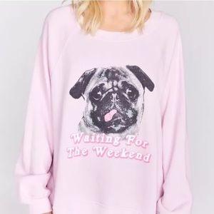 Wildfox Sweaters - NEW WILDFOX Pink Pug Sweatshirt Jumper Size S